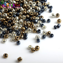 OlingArt AAA 2MM 5400pcs/bag Metal mixed multicolor Czech Glass Seed beads Spacer women necklace DIY jewelry making(China)