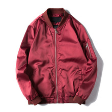 2017 Spring Autumn Mens Solid Flight Wine Red Bomber Jacket Men's Rib Sleeve Zipper Short Air Force Baseball Coats Clothing(China)