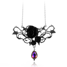 Extraordinary design black roses color crystal pendant fashion necklace lady floral rose clothing accessories for Hallowee Gift(China)