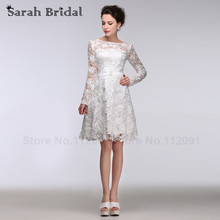 Buy White Lace Long Sleeves Wedding Dresses A-line 2016 Sexy Sheer Lace Neck Wedding Bridal Gowns Short A-line robe de soiree for $128.25 in AliExpress store
