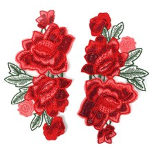 1pair Red Rose Flower Floral Collar Sewing Patch Applique Badge Embroidered Fabric Sticker DIY Bust Dress Ornament