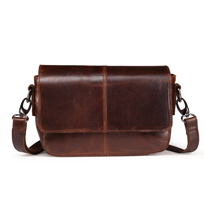 Vintage High grade Oil waxing Cowskin women Small Flap bag fashion genuine leather shoulder crossbody bag women messenger bags<br>
