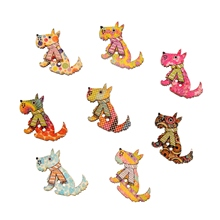 50Pcs 28x20mm 2 Holes Mixed Lovely Dog Wooden Buttons For Handmade Scrapbooking Crafts