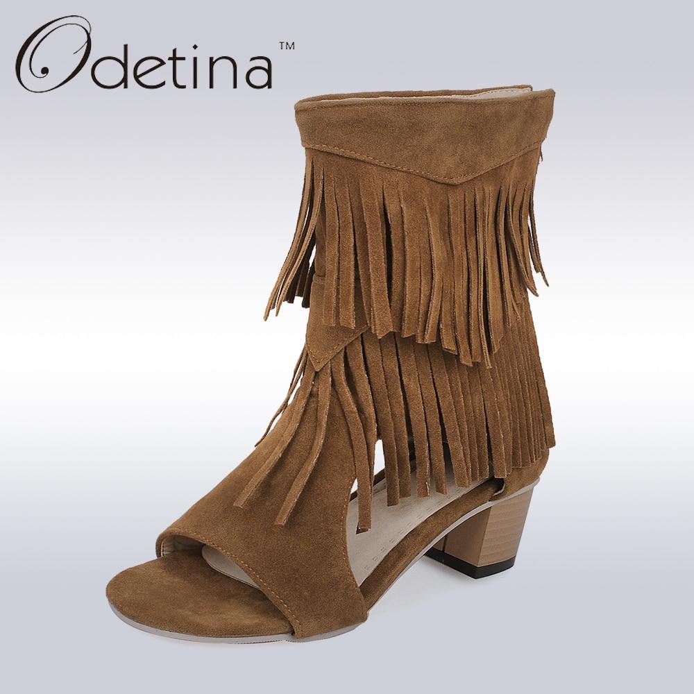 Odetina 2017 Brand Fashion Woman Sandals Fringe Tassels Open Toe Gladiator Summer Boots Chunky High Heel Zip Up Big Size 32-45<br>