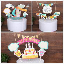 1set Birthday Cake Car Truck Sailboat Cake Toppers Cartoon Cake Flags Happy Birthday Party Kids Favors Baking Picks