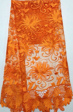 Orange color factory price french net lace fabric! Beautiful guipure clothing materia with African net lace fabric!SYL096(4)(China)