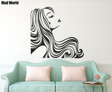 Mad World-Woman Long Wavy Hair Beautiful Wall Art Stickers Wall Decal Home DIY Decoration Removable Room Decor Wall Stickers