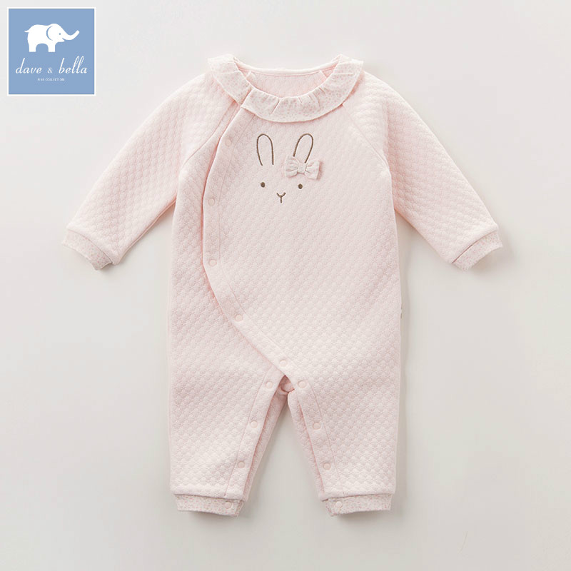 DB5575 dave bella autumn new born baby girls fashion romper infant clothes girls cute romper baby 1 piece<br>