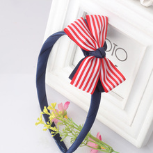 New Arrival Hair Accessories Bow Hair Band Kids Headband Sweet Stripe Pattern Girl Hair Ornaments Young Girls Hair Band(China)