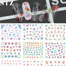 STZ 11 Designs/lot 3d Nail Art Sticker Tips Decals Color Flowers Easy Beauty Women Manicure Polish Stylish Decor Tools E336-346