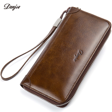 DANJUE Men Wallet Genuine Leather Male Purse Long Phone Bag Natural Cowhide Clutch Bag Trendy Fashion Card Holder Man Hand Bag(China)