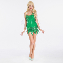 Vocole Higt Quality Tinkerbell Sequin Mischievous Green Fairy Costume Women Torn Hem Mini Dress Fancy Dress With Fairy Wings