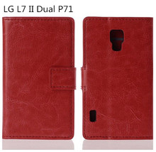 2014 New Luxury Wallet Stand Style Flip Leather Case Cover For LG Optimus L7 2  II Dual P715 Original Mobile Phone Bag,Black Red