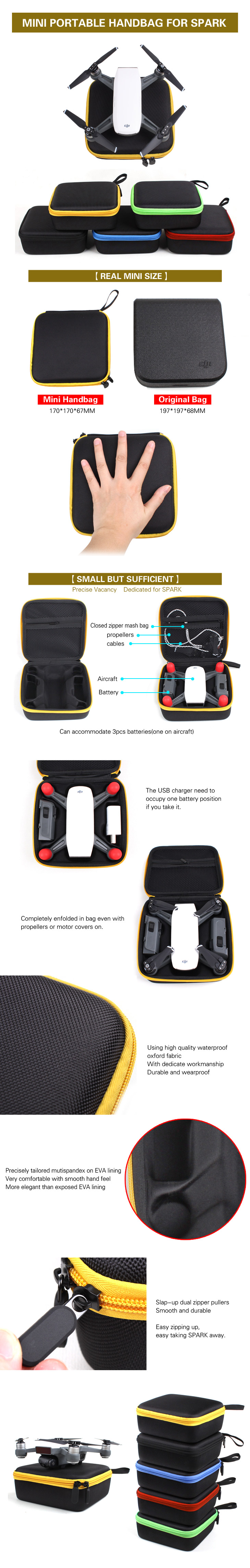 Mini Portable Handheld Bag Drone Storage Bag Carrying Bag for DJI Spark Drone Aircraft Battery F21496/7