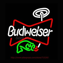 Neon Sign Budweiser Fish Beer Neon Bulb Decorated Room Handcrafted Bar Display Neon Tubes Personalized Custom LOGO Affiche 16x16(China)