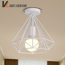 modern white/back birdcage ceiling lights iron minimalist retro ceiling lamp loft pyramid lamp metal cage with led bulb(China)