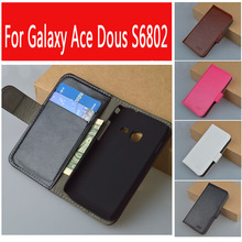 For Samsung Galaxy Ace Duos S6802 GT-S6802 6802 S6352 Cover with Wallet and Bank Card Holder 9 Colors in Stock(China)