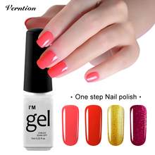 Verntion lucky Color Glitter 3 in 1 UV Nail Gel One Step Professional Nail Gel Polish Soak Off Foil Adhesive cheap gel Varnish