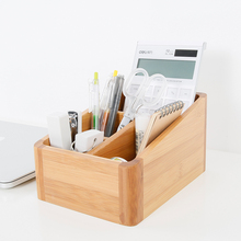Modern Style Bamboo Storage Box Table Organizer 4 Slots Multi-Use Storage Box Wood Office Organizer Remote Controller Holder