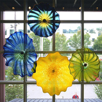 New Arrival Chihuly Style Murano Glass Plate High Quanlity Hand Blown Glass  Art Window Plate Wall