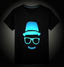 Children's T-shirt Boys Girls Noctilucence Luminous Brand T-shirts Kids Hip Hop Neon Print Party Club Night Light Punk Tops Tees(China)