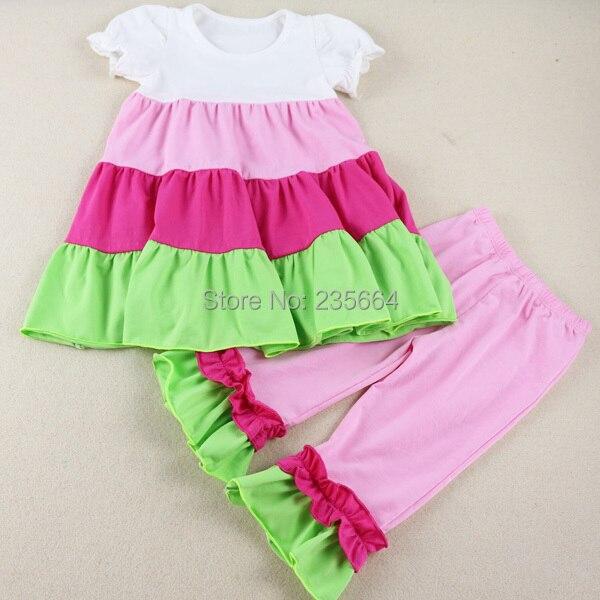 Wennikids Summer Spring Children Girl Clothing Short Sleeve Set Ruffle Cute 2pcs Clothes Kids T Shirt+pants Legging Free Ship <br><br>Aliexpress