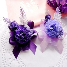 New Prom Fabric Handmade Artificial Lavender 10pcs Boutonniere Wedding Church Decor Bride Wrist Corsage Flower Bracelet FL1397
