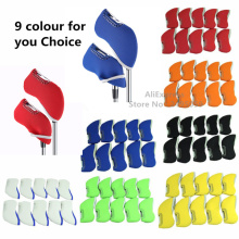 New OEM Samll order Custom logo 10piece Golf Iron club Head Covers headcovers Neoprene protection Case set Multicolor ,wholesale