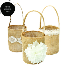 Burlap Basket Wedding Ornaments Wedding Decoration Flower Girl Basket Wedding Ideas Wedding Accessories