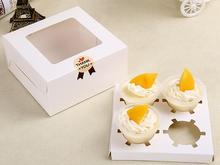 Wholesale and retail Paper 4 Cupcake box with pvc window White Tow Muffin Box with Window