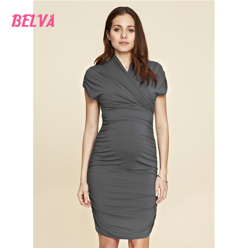 Belva 2017 Womens Solid Color Wrapped V-Neck Ruched Skirt Midi Dresses maternity gown photography dress evening maternity DR140<br>
