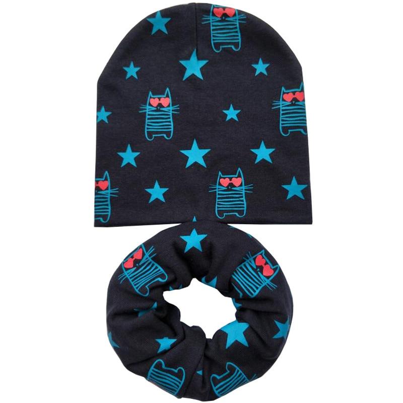 Navy cat hat scarf set