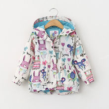 Spring Casual Painted Girls Jackets Hooded Outerwear For Girls Fashion Hand Kids Sunscreen Clothing 2017 Hot