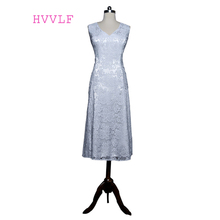 Silver 2017 Mother Of The Bride Dresses A-line V-neck Cap Sleeves Tea Length Lace Plus Size Groom Mother Dresses For Wedding
