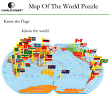 Wood Toy Educational Toys Puzzle Jigsaw National Flag 3D World Map Gift(China)