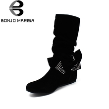 BONJOMARISA Big Size Half Knee Snow Boots Women Rhinestone Bowtie Sexy Winter Shoes Hidden Wedge Heel Winter Shoes Boots HB144