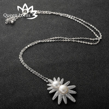 Queen Lotus Hot Sell Silver Color Blossom Sun Flower Necklaces Pendants With High Quality Cubic Zircon Rhinestone Birthday Gift(China)