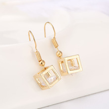 Wholesale Hot Promotion 2014 New Product Happiness Cube Cubic Zirconia Dangle Earring Fashion Jewelry Style For Women Girls