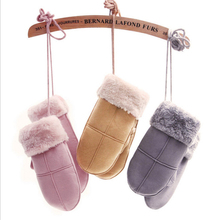 Hanging neck gloves PU leather ladies plus velvet thicken winter warm women cute pink suede Mittens(China)