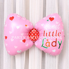 1pc New Pink Bow Tie Foil Balloons Baby Girls Happy Birthday Decoration Globos Baby Shower Party Suppliers Baby Girl gift baloes