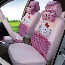 girls' women's cute cartoon hello kitty pink universal car seat cover set(China)
