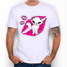 2017 latest summer fashion men's short sleeves Kiss kitty cat print T-shirt pink Lips Like Sugar design Tops hipster male Tees(China)