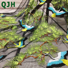 QJH New Lace Fabric Forest Bird Embroidery Fashion High-end Women's Dress Cloth 6 Colors French  African Lace Fabric 130cm Width