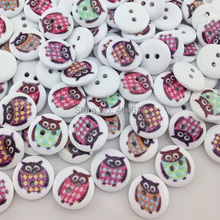 New 10/50/100pcs Cute Owl Wood Buttons 15mm Sewing Craft Mix Lots WB15