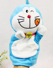 Story game toy 1pc 25cm cartoon sweet Doraemon hand puppets plush sleeping pacify educational stuffed baby infant gift(China)