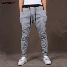8 Colors 2017 Unique Pocket Mens Joggers Cargo Men Pants Sweatpants Harem Pants Men Jogger Pants Men Pantalones Hombre(China)