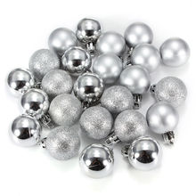 24Pcs Chic Christmas Baubles Tree Plain Glitter XMAS Ornament Ball Decoration Silver