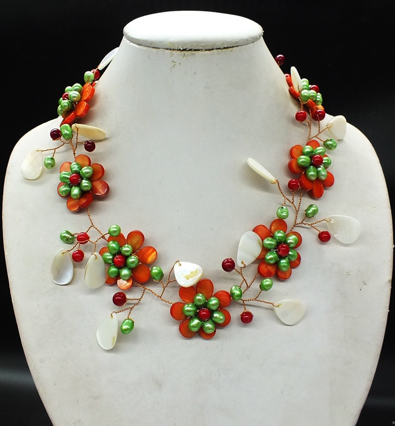 NO-0287# Charming woman jewelry.  Sea shells and freshwater pearls, hand-woven classic necklaces. Best gift for girlfriend