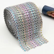 1Yards Colorful Crystal Diamond Mesh Rhinestone Plum Ribbon Roll for Gift Wrap Diy Sewing Trim Wedding Party Decor(China)