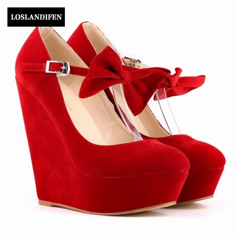 Summer New Fashion Woman Shoes Super High Wedges Heel Pointed Toe Faux Suede For Woman Dess Shoes Wedding shoes Zapatos Mujer <br>